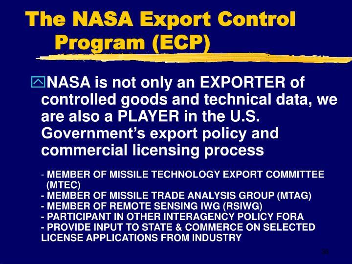 The NASA Export Control  Program (ECP)