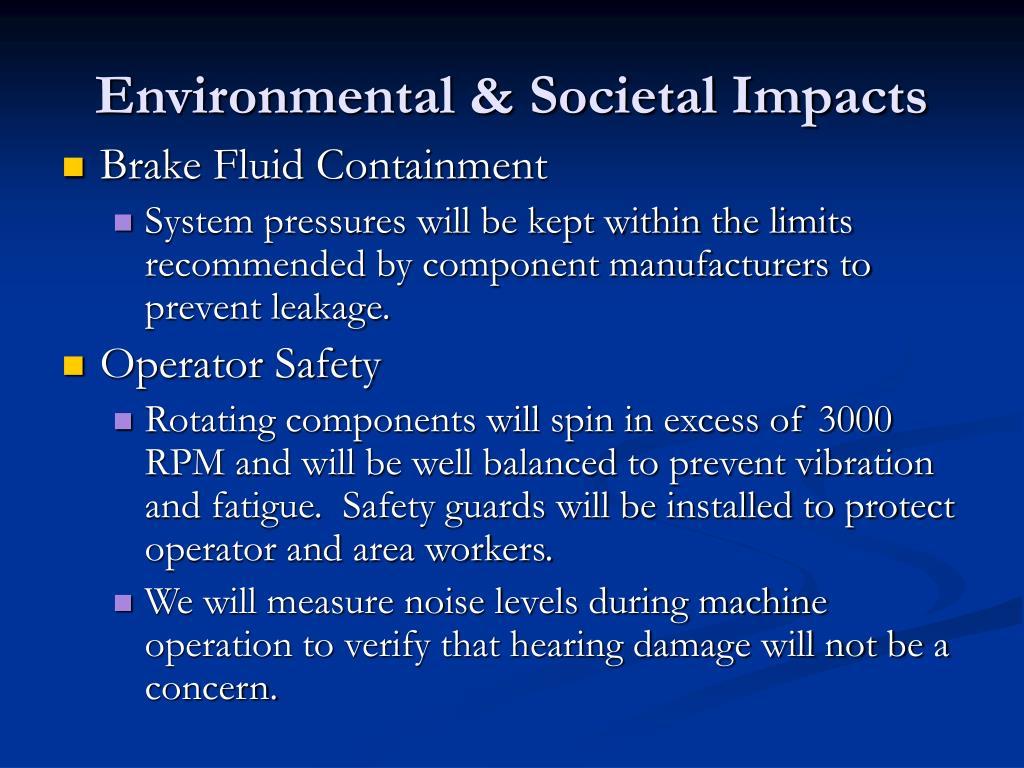 Environmental & Societal Impacts