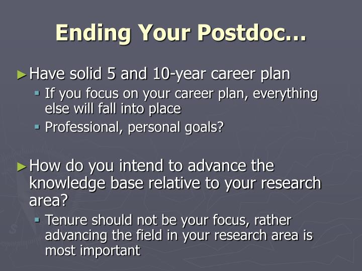 Ending Your Postdoc…