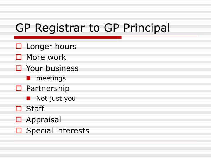 GP Registrar to GP Principal