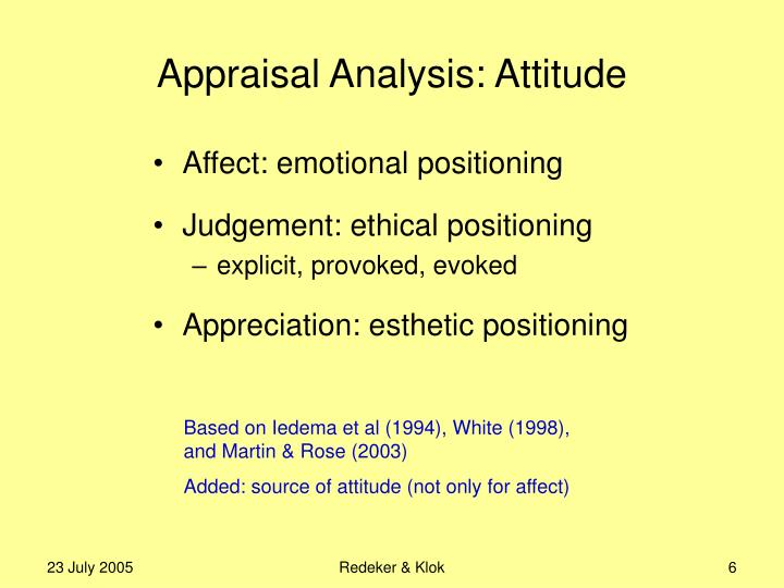Appraisal Analysis: Attitude