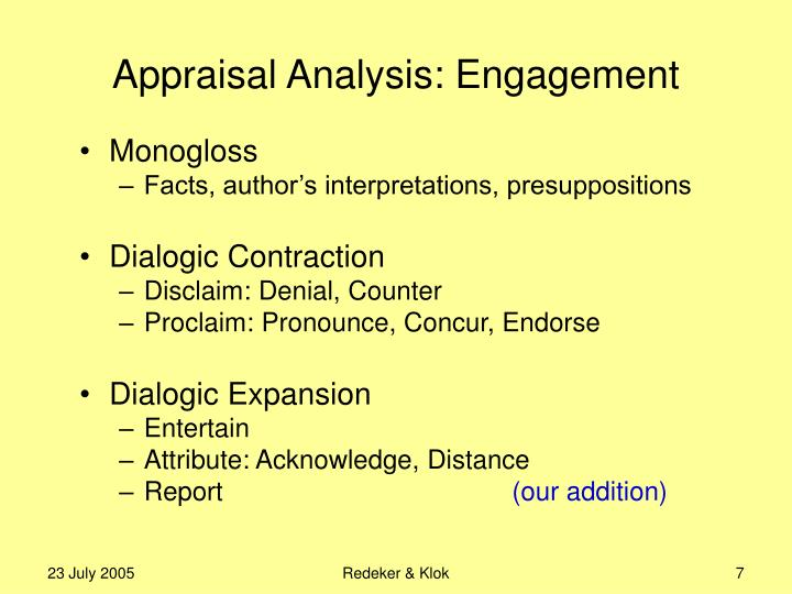 Appraisal Analysis: Engagement