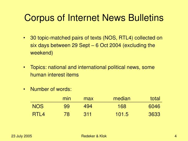 Corpus of Internet News Bulletins