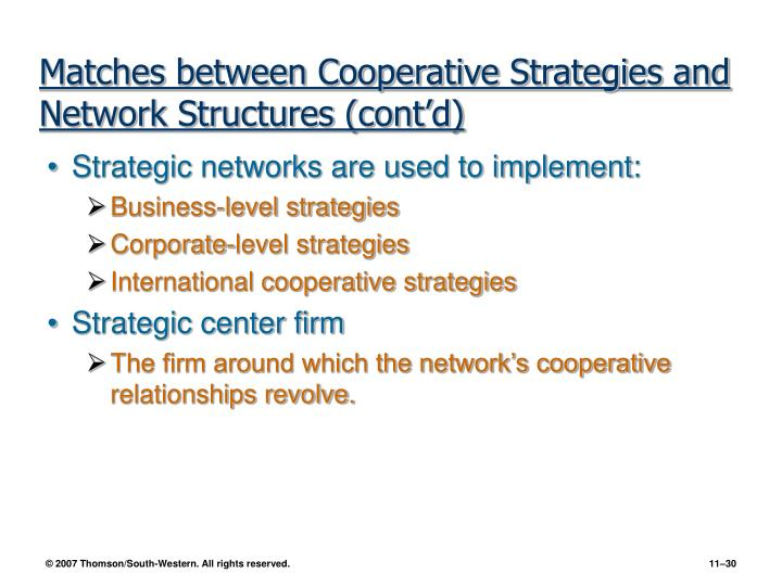 Matches between Cooperative Strategies and Network Structures (cont'd)