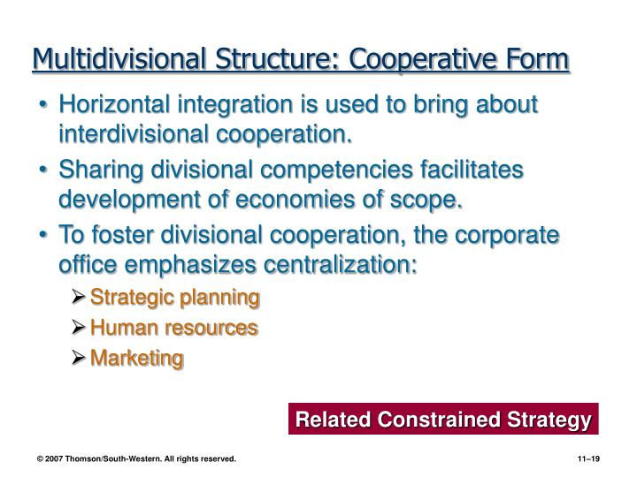 Multidivisional Structure: Cooperative Form