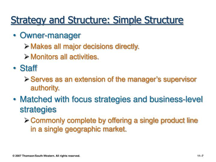 Strategy and Structure: Simple Structure
