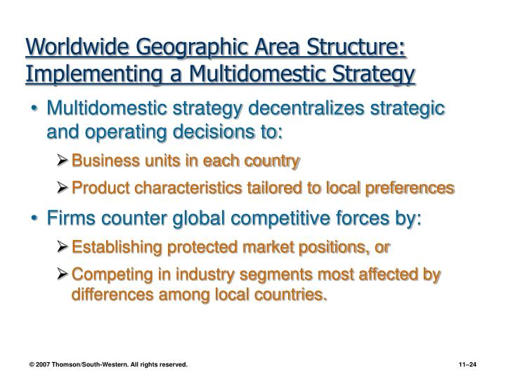 Worldwide Geographic Area Structure: Implementing a Multidomestic Strategy