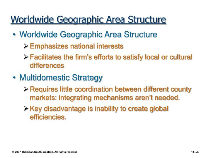 Worldwide Geographic Area Structure