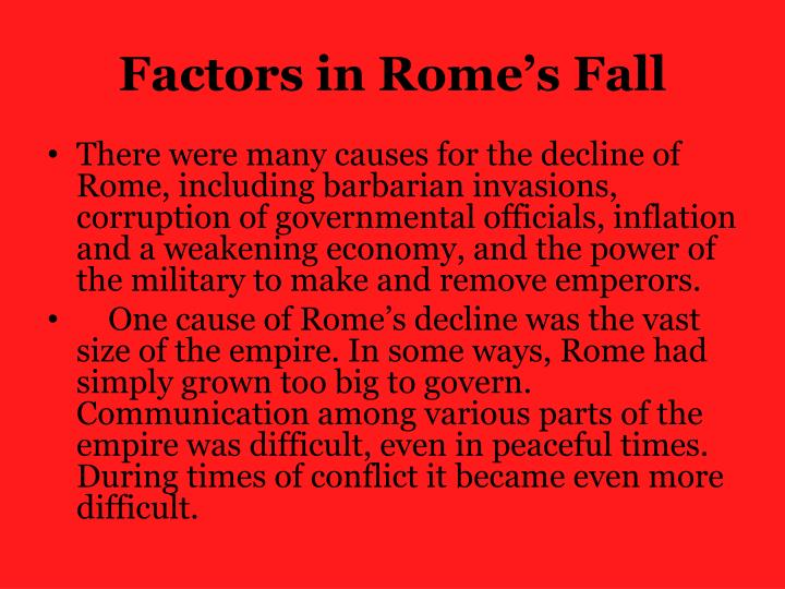 Factors in Rome's Fall