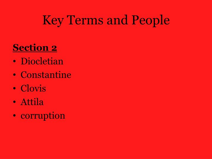 Key terms and people
