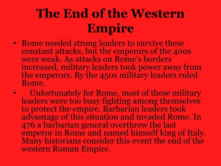 The End of the Western Empire