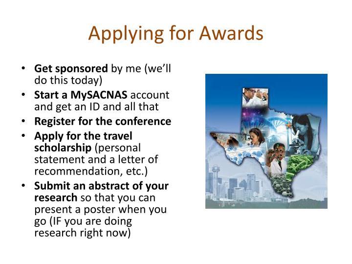 Applying for Awards