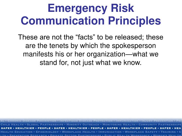 Emergency Risk Communication Principles