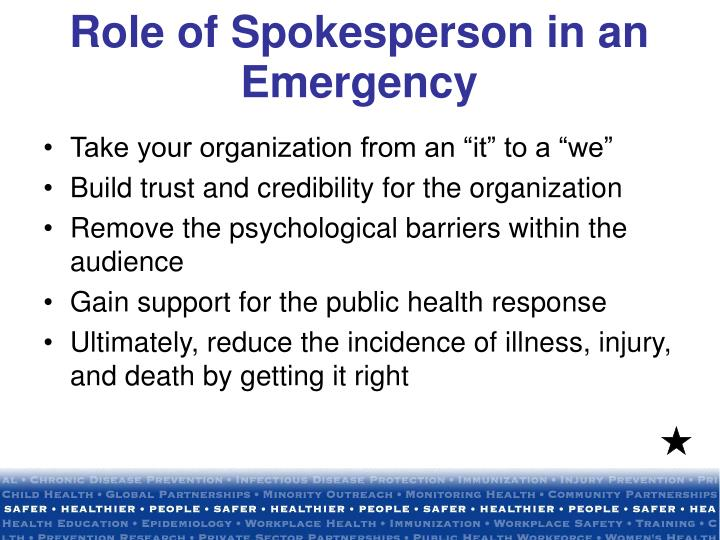 Role of Spokesperson in an Emergency