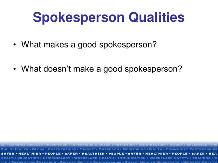 Spokesperson Qualities