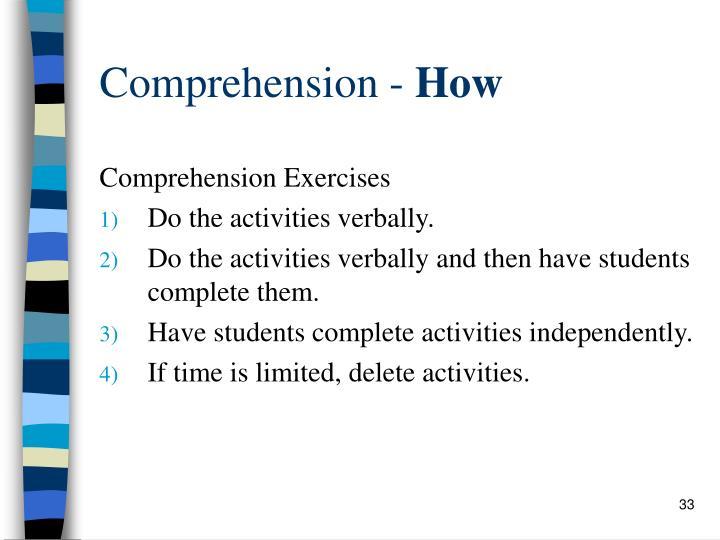 Comprehension -