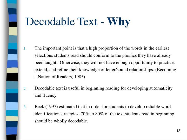 Decodable Text -
