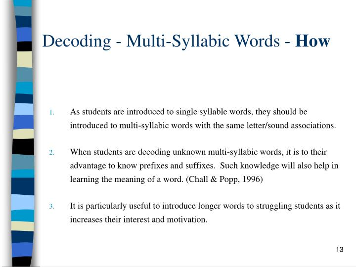 Decoding - Multi-Syllabic Words -