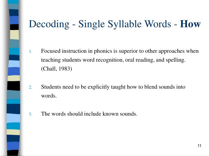 Decoding - Single Syllable Words -