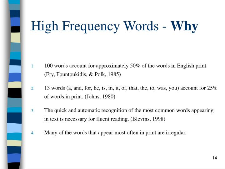High Frequency Words -