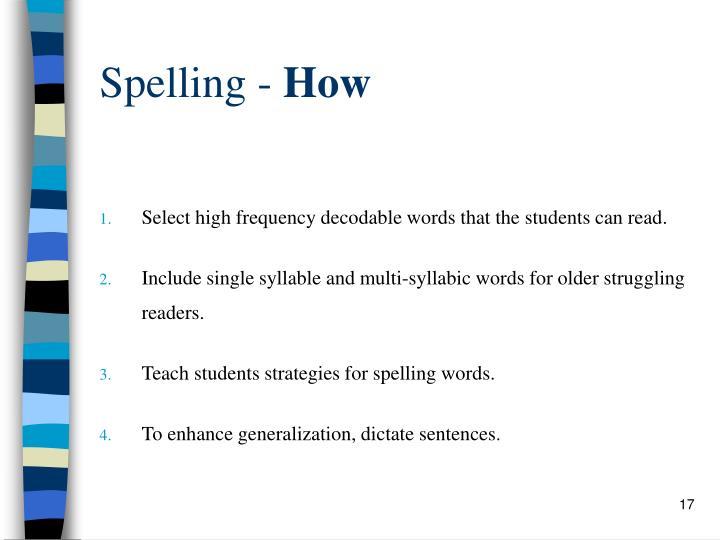 Spelling -