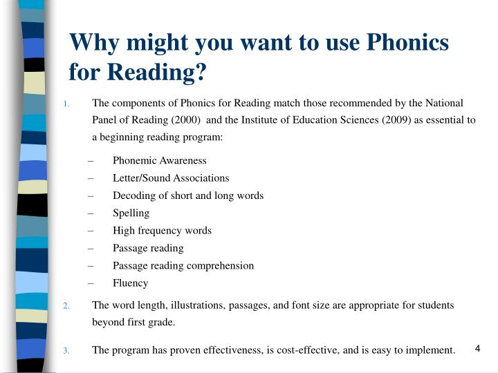 Why might you want to use Phonics for Reading?