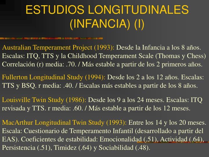 ESTUDIOS LONGITUDINALES (INFANCIA) (I)