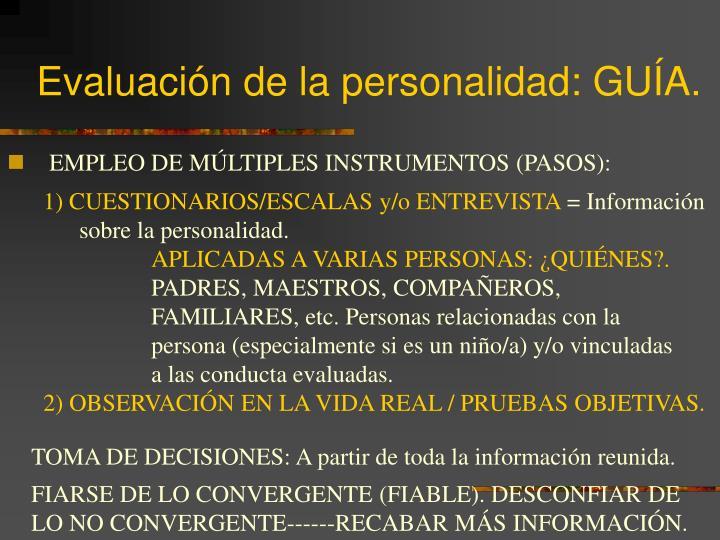 Evaluación de la personalidad: GUÍA.