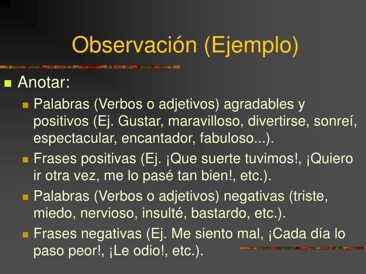 Observación (Ejemplo)