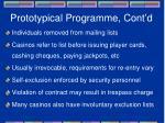 prototypical programme cont d