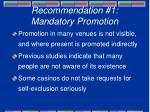 recommendation 1 mandatory promotion
