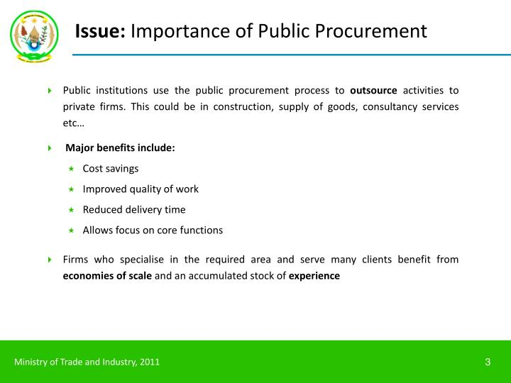 Issue importance of public procurement