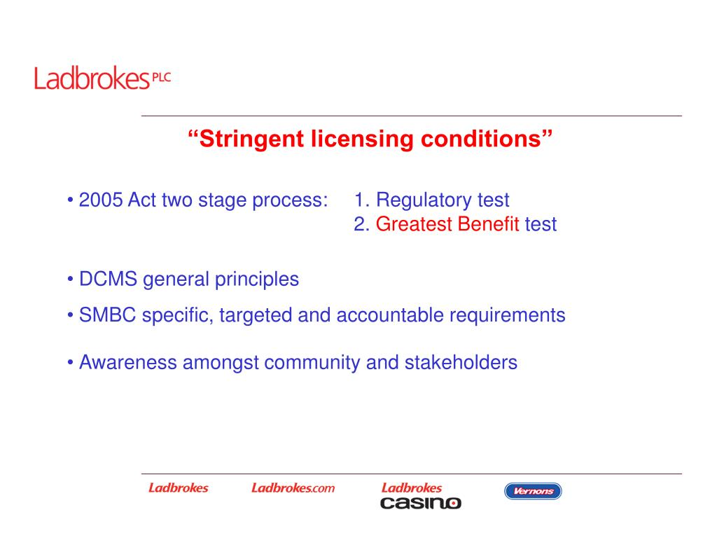 """Stringent licensing conditions"""