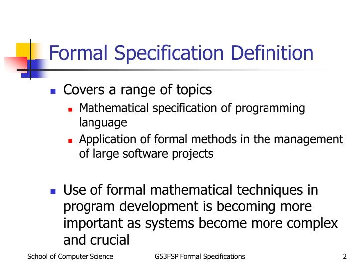 Formal specification definition