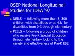 osep national longitudinal studies for idea 97