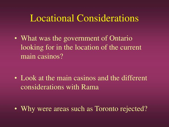 Locational considerations