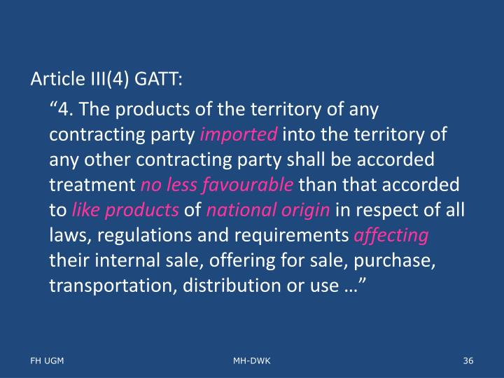 Article III(4) GATT: