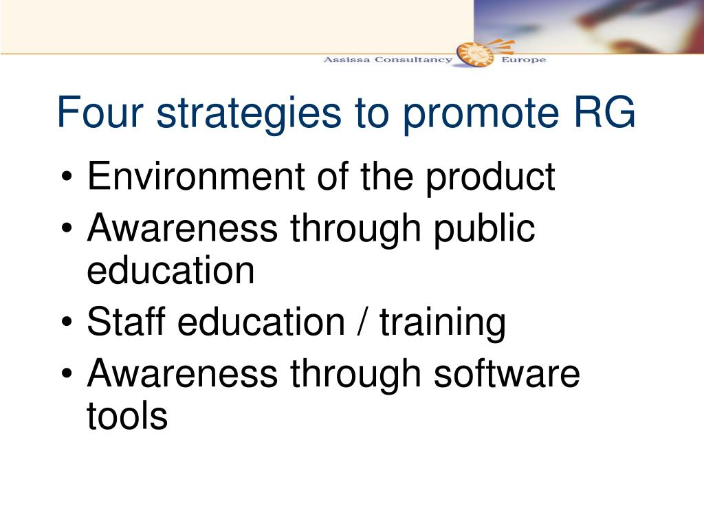 Four strategies to promote RG
