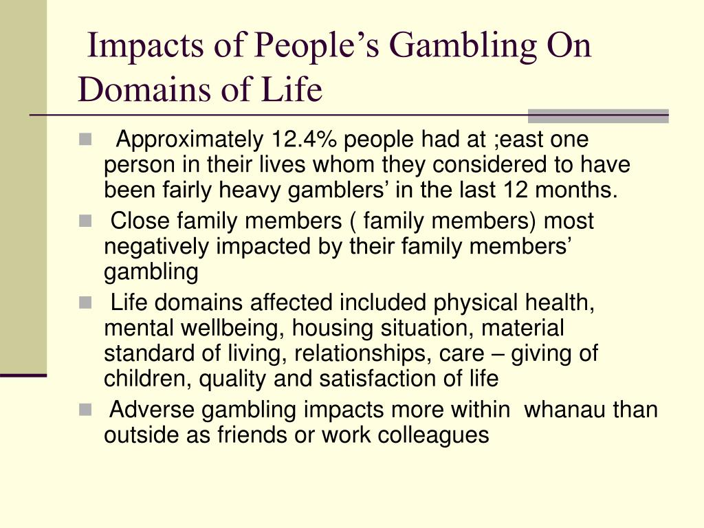 Impacts of People's Gambling On Domains of Life