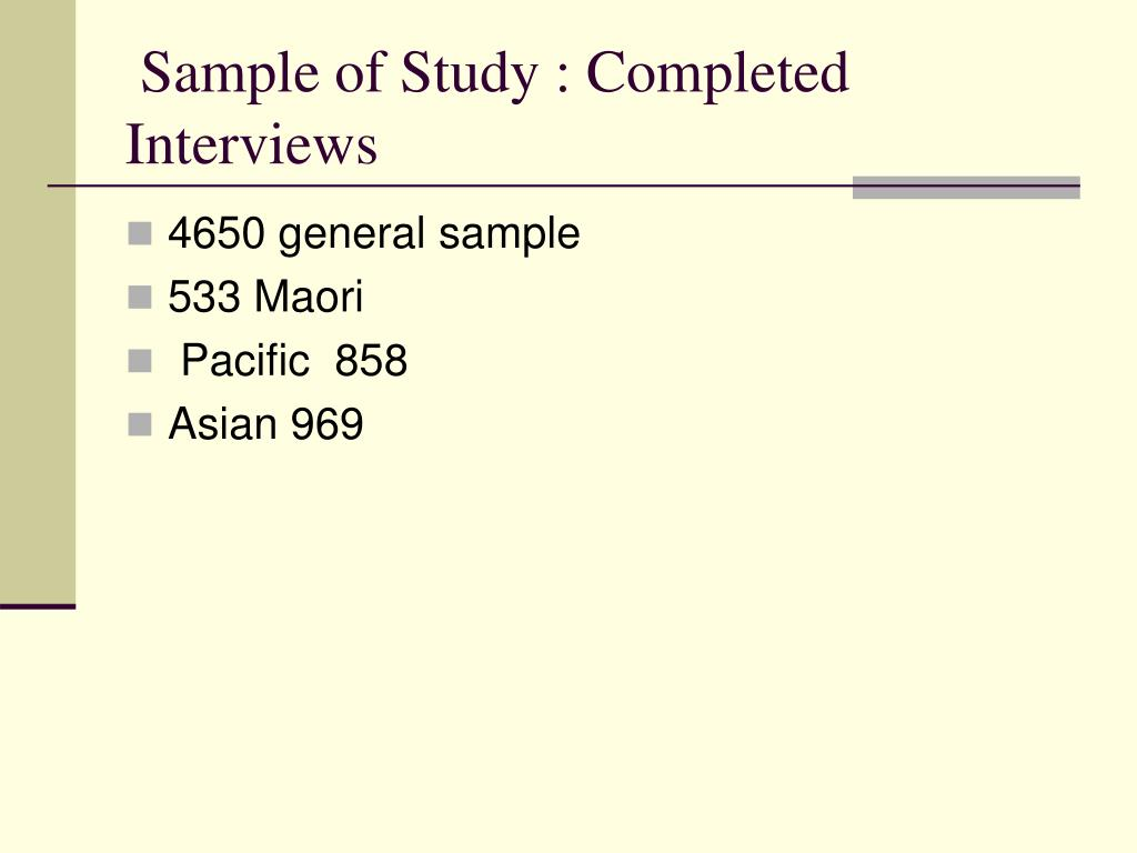 Sample of Study : Completed Interviews