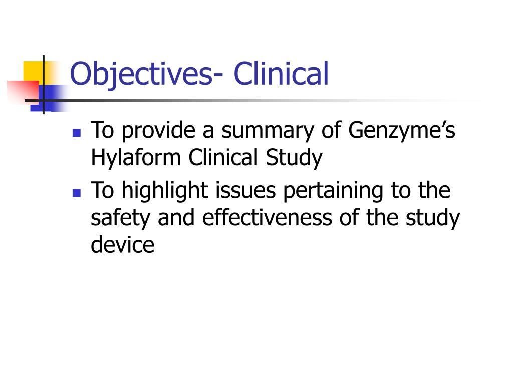 Objectives- Clinical
