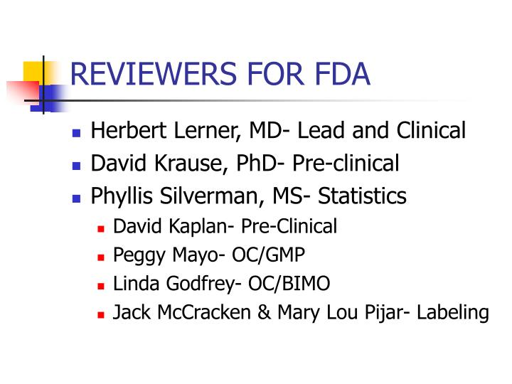 Reviewers for fda