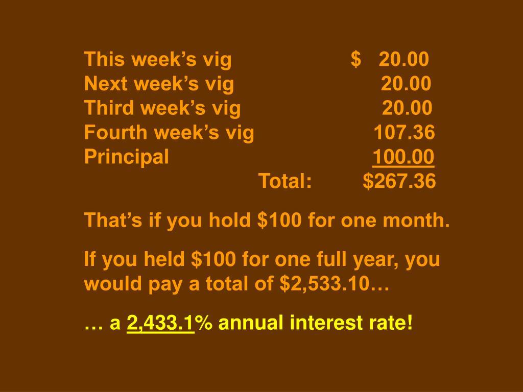 This week's vig                     $   20.00