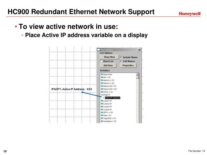 HC900 Redundant Ethernet Network Support
