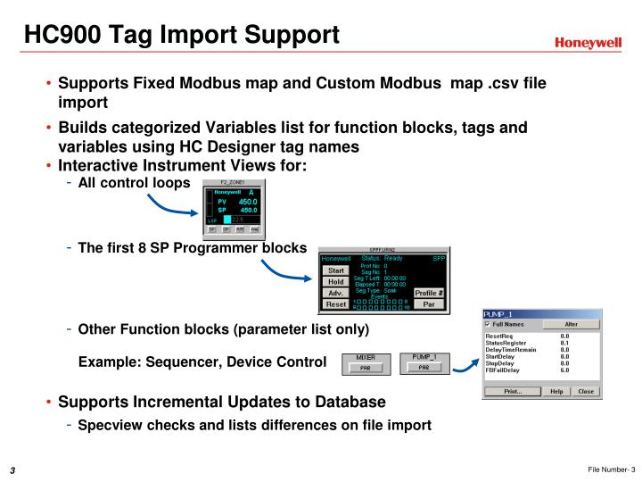 Hc900 tag import support