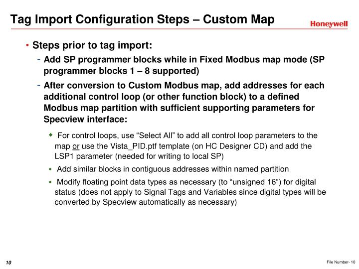 Tag Import Configuration Steps – Custom Map