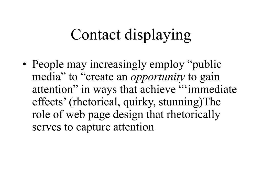 Contact displaying