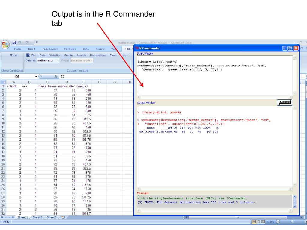 Output is in the R Commander tab