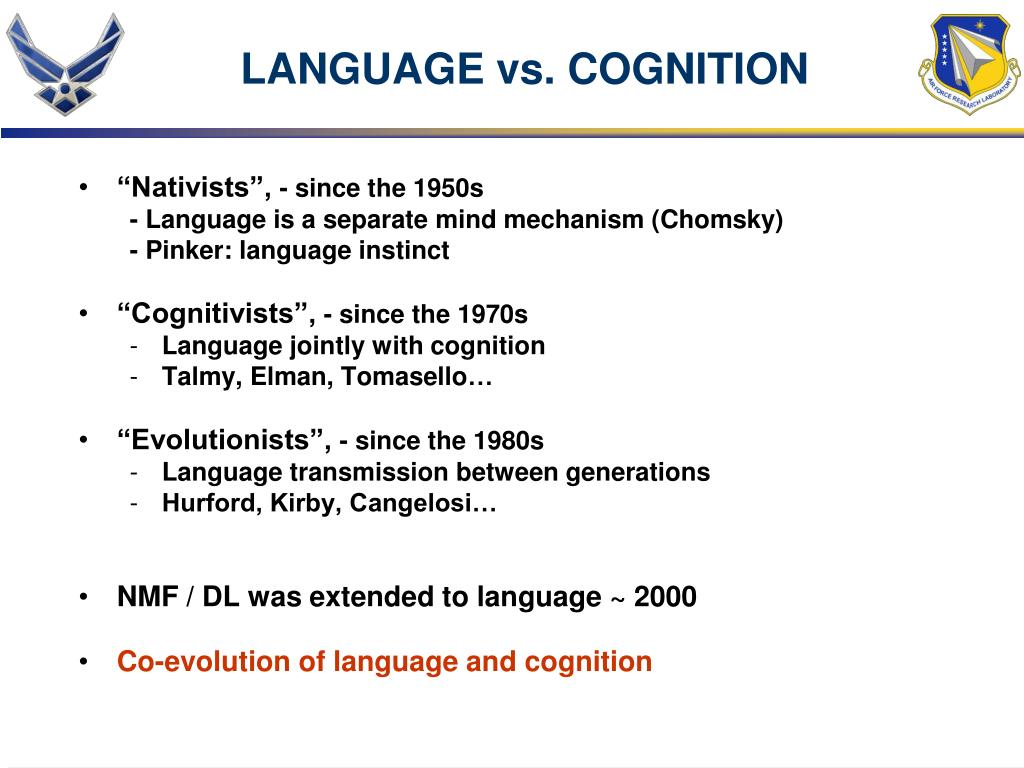 LANGUAGE vs. COGNITION