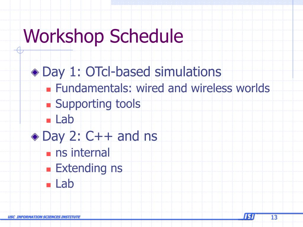 Workshop Schedule